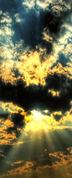 Storm clouds, sun